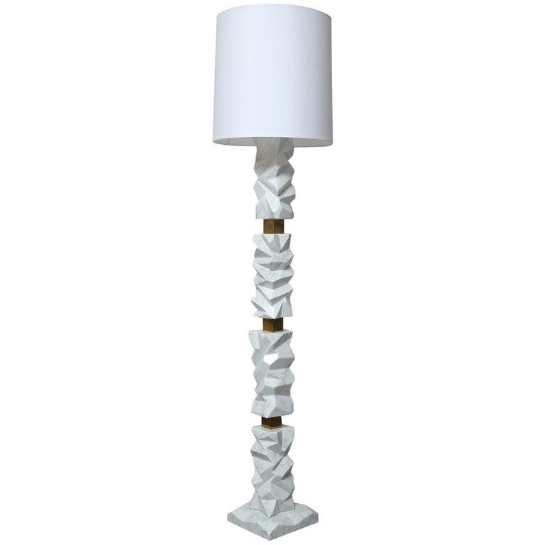 Rock Floor Lamp in White Carrara Marble, Handmade in Italy For Sale