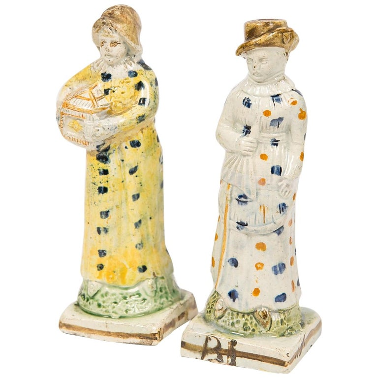 Pair Antique Prattware Figures Deaccessioned From Colonial Williamsburg For Sale