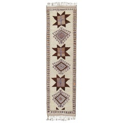 Graphic Tribal Design Vintage Turkish Tulu Runner in Cream, Brown, Gray, Taupe