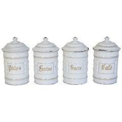 Antique French Enamel Canister Set