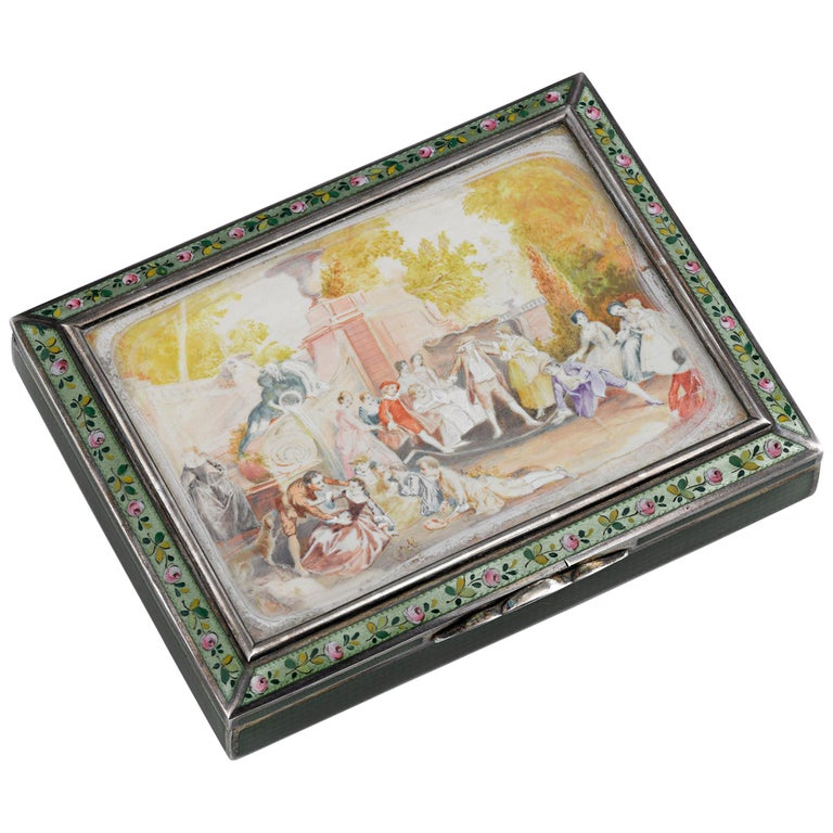 Viennese Silver and Enamel Snuffbox For Sale