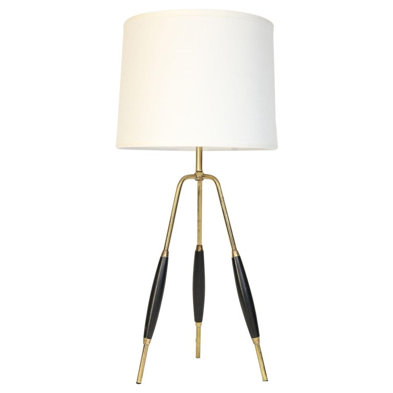 Mid Century Modern Br And Wood Tripod Table Lamp