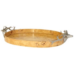 Burl Wood Tray with Stag Head Handles