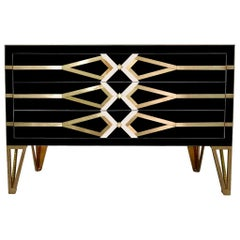 Bespoke Cosulich Creation Gold Brass and Black Three-Drawer Chest or Sideboard