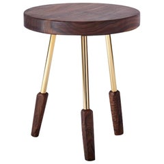 Oiled Walnut Milking Stool with Brass Legs by Casey McCafferty