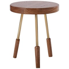 Oiled White Oak Milking Stool with Brass Legs by Casey McCafferty