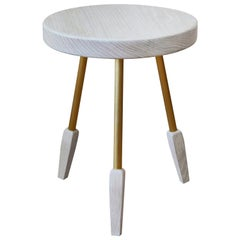 Bleached White Oak Milking Stool with Brass Legs by Casey McCafferty