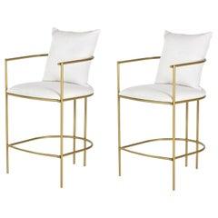 Set of 2, Contemporary Valentina Handcrafted Premium Brass Barstool