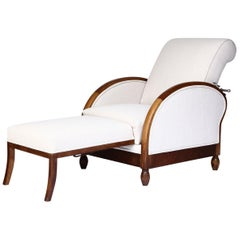 French Deco Reclining Club Chair, circa 1915, Newly Upholstered