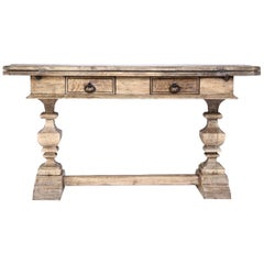 Antique Oak Hinged Top Console Table