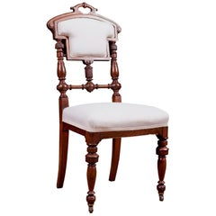 Set of Six American Eastlake Dining Chairs in Mahogany with Upholstery