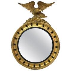 19th Century Federal Style Gilt and Ebonized Eagle Convex Mirror