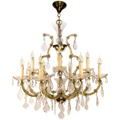 Maria Theresa Style Thirteen-Light Crystal Chandelier, 1950s