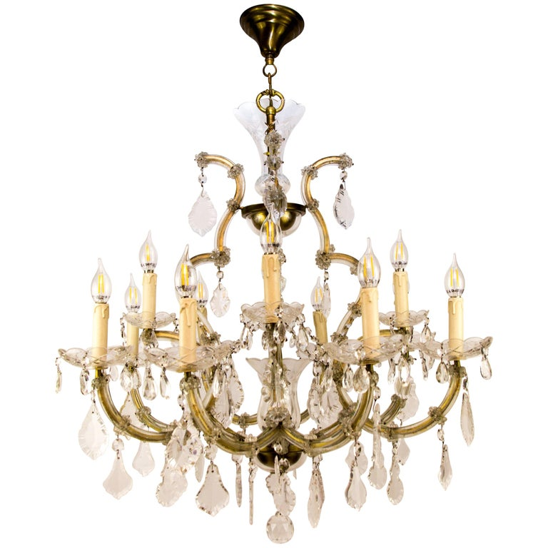 Maria Theresa Style Thirteen-Light Crystal Chandelier, 1950s For Sale