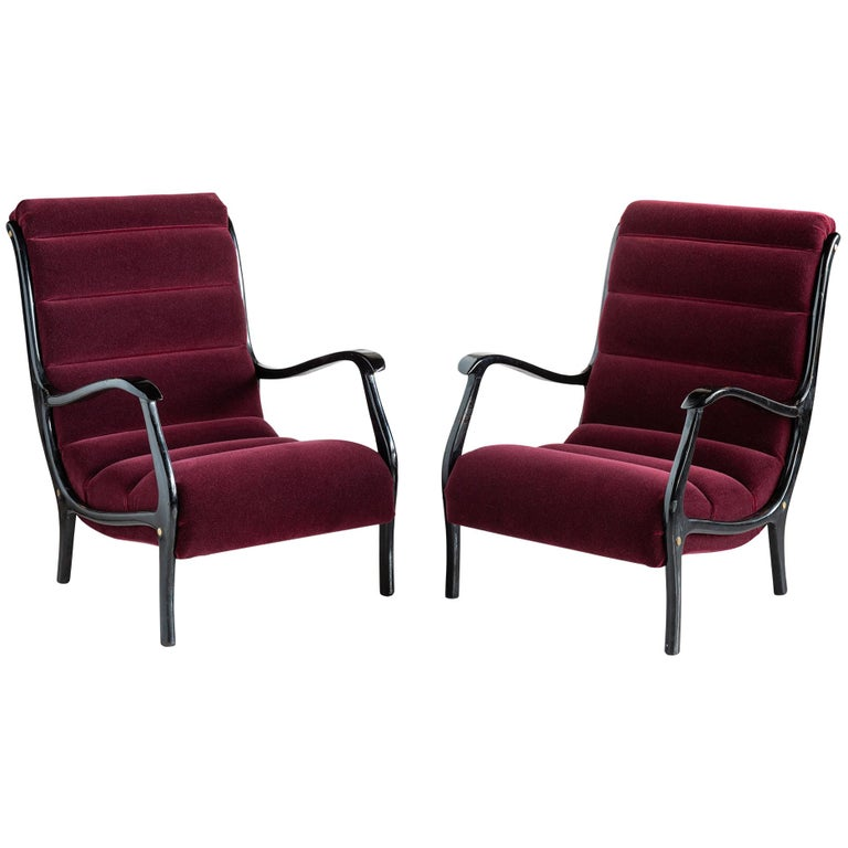 Pair of Ezio Longhi Bentwood Armchairs, Italy, circa 1960 For Sale
