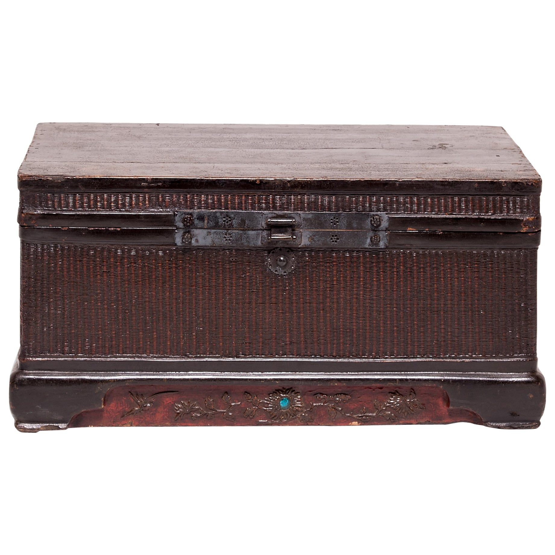 19th Century Chinese Woven Reed Trunk