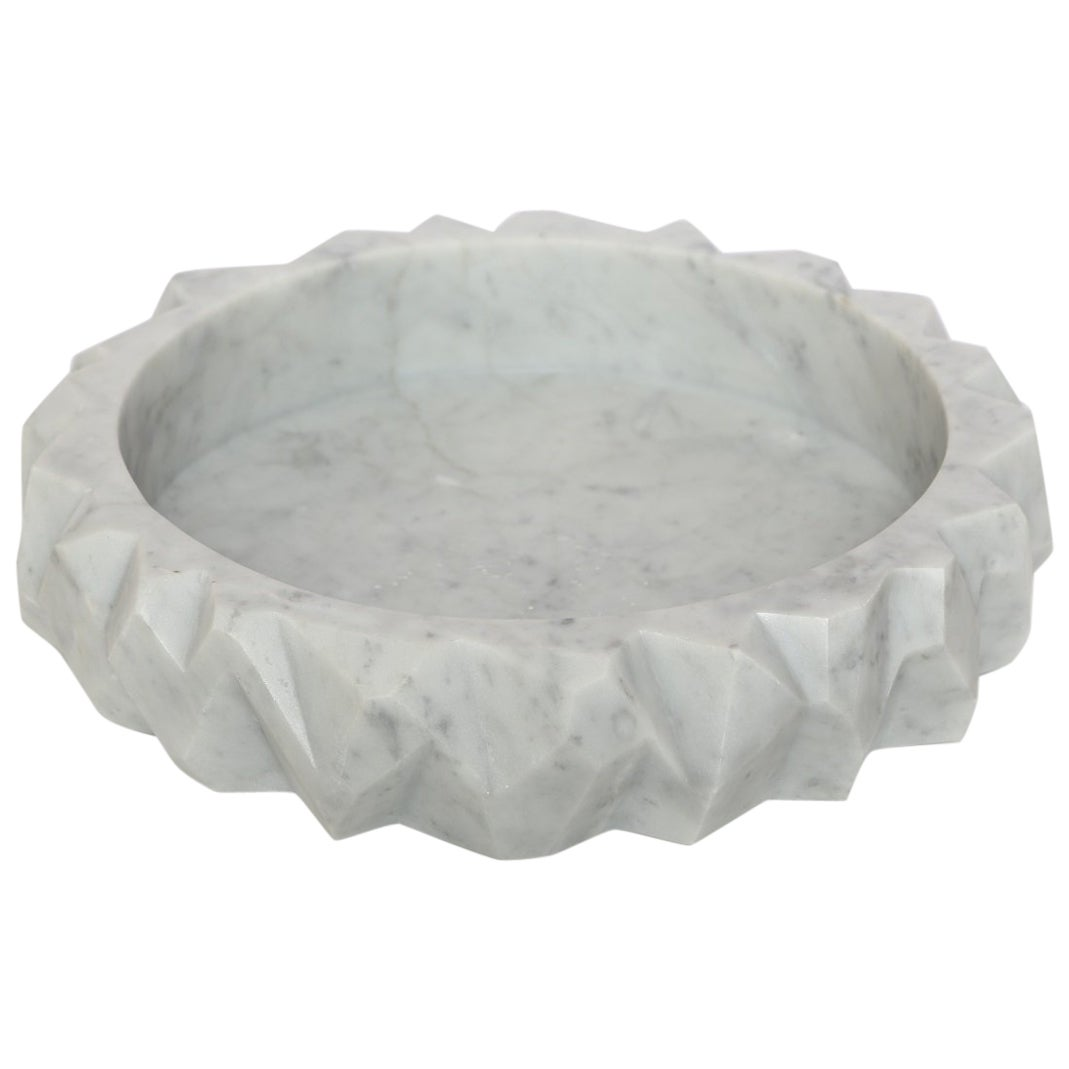 The Marble House Rock Bowl in White Carrara Marble, Handmade in Italy