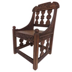 Hand Carved Arts & Crafts Gothic Revival Chair Signed and Dated 1903