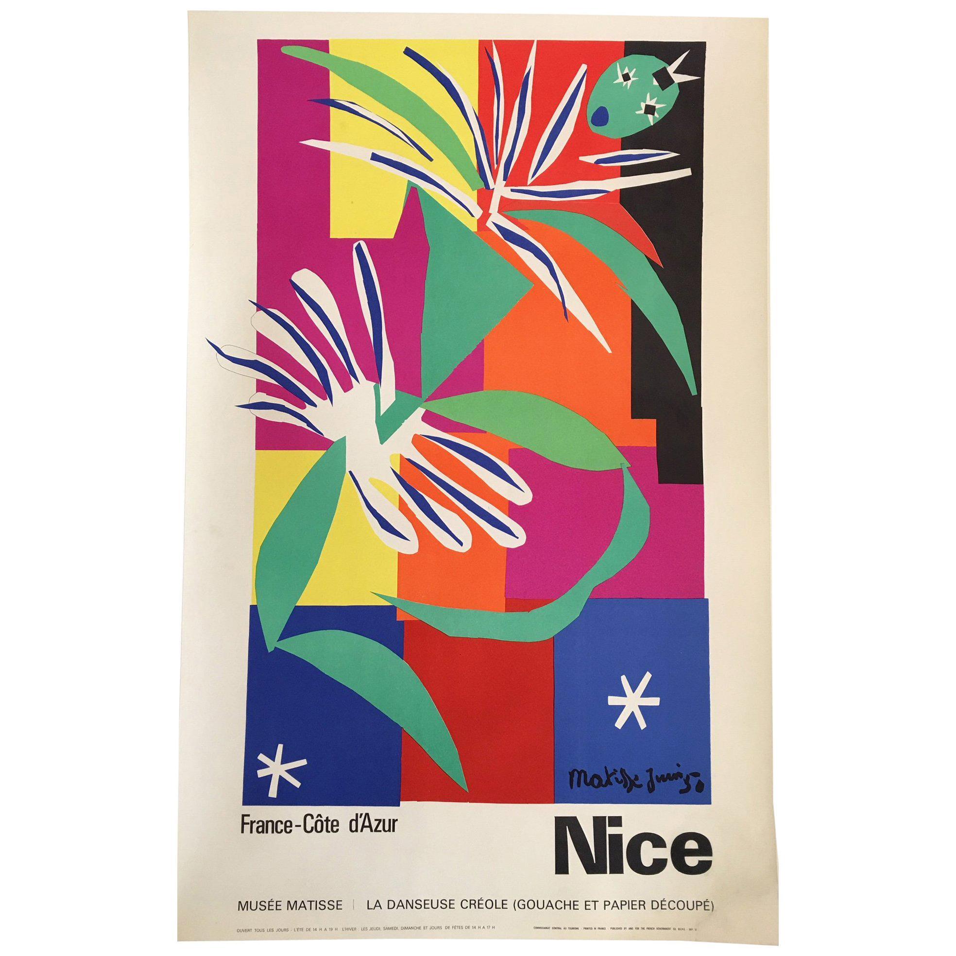 Vintage French Art & Exhibition Poster after Henri Matisse, 1960s, Nice