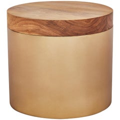 Oiled Walnut Brushed Bronze Un-Lacquered Base Sol Side Table by Casey McCafferty