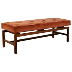 Mid-Century Modern Jens Risom Style Tufted Floating Walnut Bench Danish, 1960s