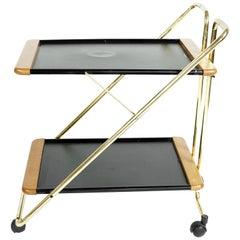 Mid-Century Modern Brass Bar Cart, 1960s