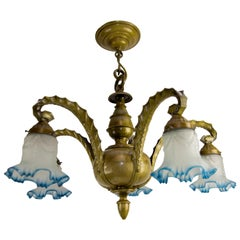 Art Deco Brass, Bronze and Frosted White and Blue Glass Five-Light Chandelier
