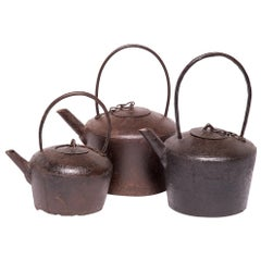 Set of Three Early 20th Century Chinese Cast Iron Tea Pots