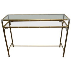 Hollywood Regency Style Faux Bamboo Brass, Chrome & Smoked Glass Console Table