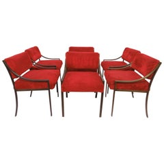 Set of Six Mastercraft Style Dining Chairs, circa 1970s