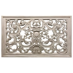 Neoclassic Swedish Gray Painted Carved Wood Architectural Panel