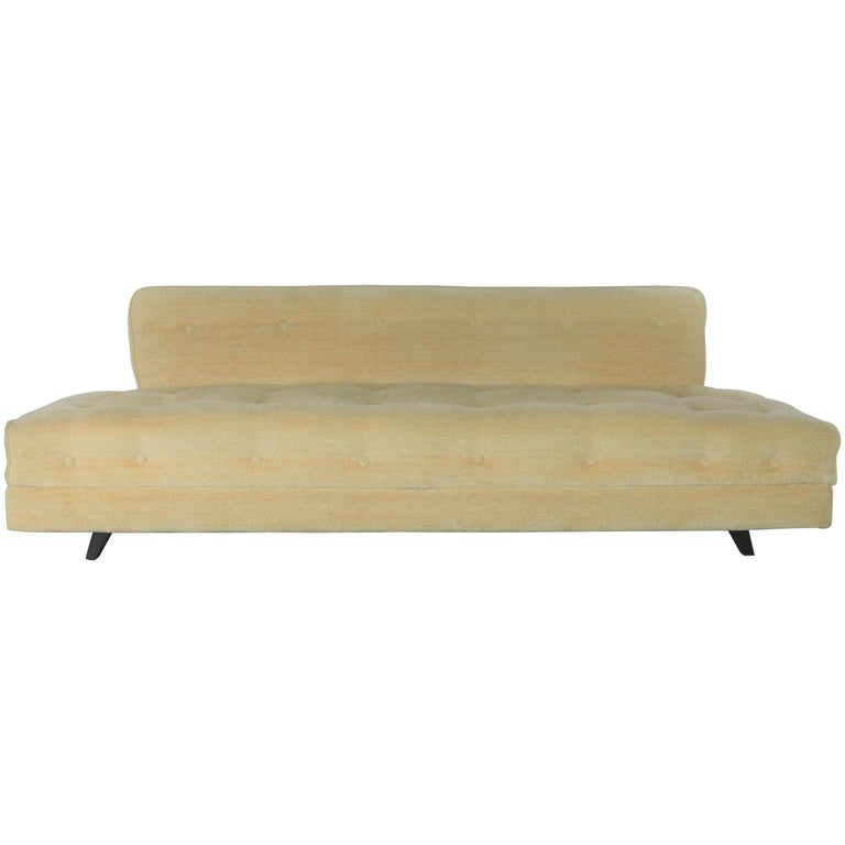 Mid-Century Modern Convertible Sofa Bed Button Detail in Oatmeal Colored  Mohair
