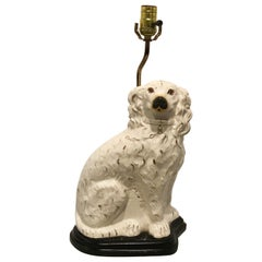 Single Antique Staffordshire White Spaniel, Now as a Lamp