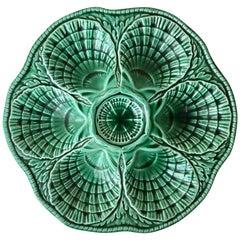 Green Majolica Oyster Plate Sarreguemines, circa 1930