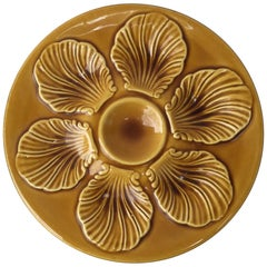 French Yellow Majolica Oyster Plate, circa 1950