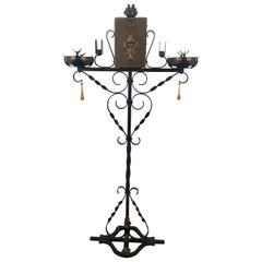 Unusual Iron and Copper Arts & Crafts Double Smoking Stand with Cigar Holder