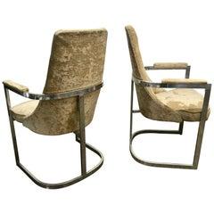 Pair of Aluminum Frame Modernist Armchairs, Milo Baughman/Thayer Coggin