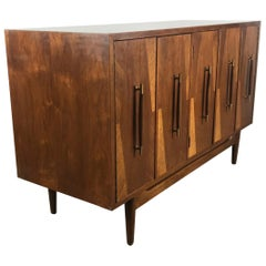 Modernist Walnut Cabinet or Server, Exotic Woods by American of Martinsville