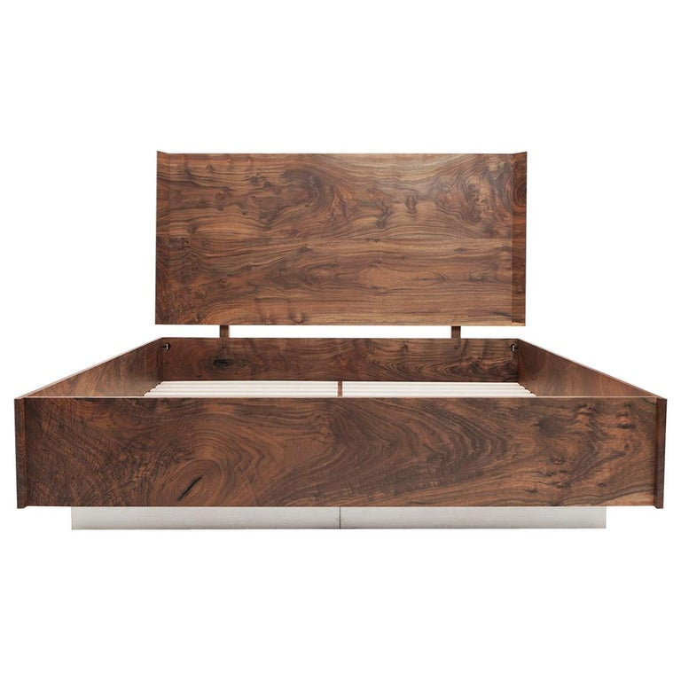 Modern Solid Claro Walnut and Stainless Steel King Sized Shear Bed For Sale