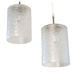Pair of Midcentury Hand-Blown Glass Swedish Pendants