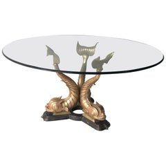 1960s Italian Brass Koi Fish Dining or Entry Table Base