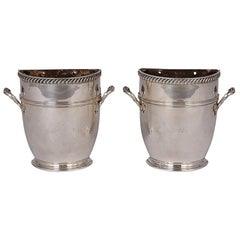 Antique Pair of English Silver Plated Regency Style Jardinières