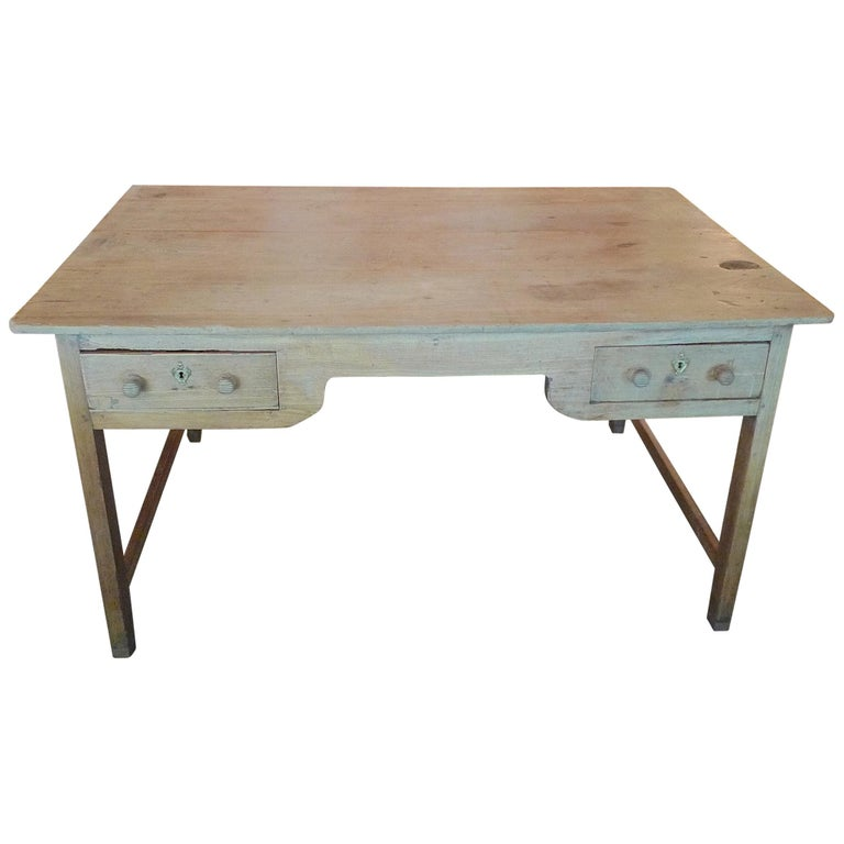 French 19th Century Stained Pine Knee Hole Writing Desk With Two Front Drawers For