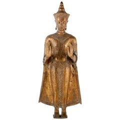 Gilt Bronze and Gesso Standing Buddha Figure