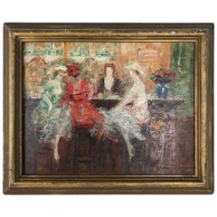 Pere Ysern Alie Painting Oil on Board Ladies in the Bar