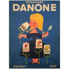 Original Vintage 1950s Advertising Poster for Dairy Product, 'Danone'
