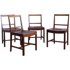 Set of Four Frits Henningsen Dining Chairs with Original Leather
