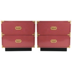 Beautiful Pair Of Pink Lacquered Campaign Style Nightstands