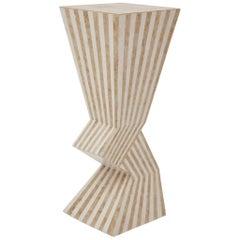 Postmodern Zig Zag Striped Tessellated Stone Pedestal, 1990s