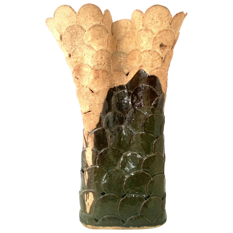 20th Century Organic Modern Handcrafted Ceramic Glaze Studio Pottery Lamp